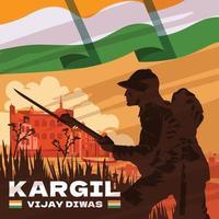 Flat Kargil Vijay Diwas Celebration Concept vector