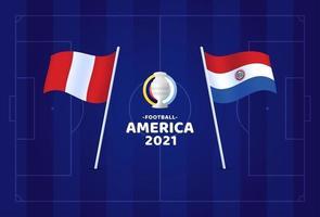 Perú vs Paraguay partido ilustración vectorial campeonato de fútbol 2021 vector