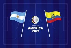 Argentina vs ecuador partido ilustración vectorial campeonato de fútbol 2021 vector