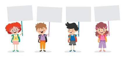 Funny Children Holding Blank Placard vector
