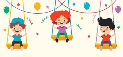 Cartoon Drawing Of Happy Character Swinging vector