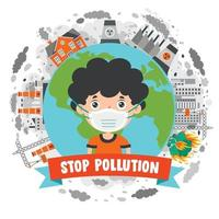 Concept Drawing Of Air Pollution vector
