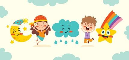 Cute Cartoon Weather Characters Posing vector