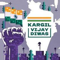 Kargil Vijay Diwas Composition Pixelate Concept vector