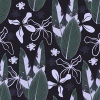 Seamless pattern ornamental plant and flowers on black background.Vector illustration line art drawing fabric design. vector