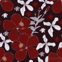Seamless pattern red Hibiscus flowers abstract background.Vector illustration line art drawing fabric design. vector