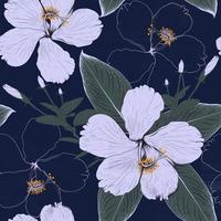 Seamless pattern ornamental plant and Hibiscus flowers on dark blue background.Vector illustration line art drawing fabric design. vector