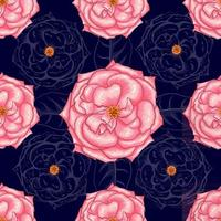 Seamless pattern beautiful ping rose flowers on abstract dark bllue background.Vector illustration hand drawing line art. vector