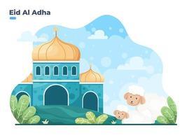 Sacrificed or qurban tradition during Eid al Adha Mubara. Happy Eid Adha Islamic Sacrifice Festival flat illustration vector. can be used for greeting card, invitation, post card, banner, poster. vector