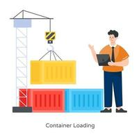 Container Loading With Crane vector