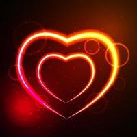 Ilustración de vector de tarjeta de felicitación de corazón brillante día de San Valentín