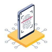 escaneo biométrico de huellas dactilares vector