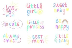 Set of cute baby lettering vector illustration