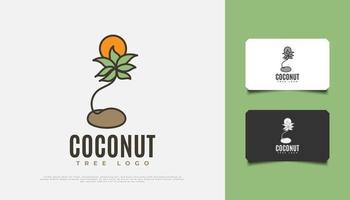 Diseño de logotipo de árbol de coco y sol en estilo de dibujos animados adecuado para la industria turística, de viajes o resort vector