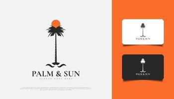 Diseño de logotipo de palmera y sol en estilo vintage, adecuado para la industria turística, de viajes o resort vector