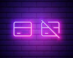 Icono de tarjeta de crédito de línea de neón brillante aislado sobre fondo de pared de ladrillo. pago en línea. retiro de efectivo. operaciones financieras. signo de compras. ilustración vectorial vector