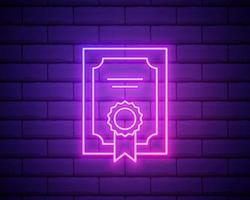 Glowing neon line Certificate template icon isolated on brick wall background. Achievement, award, degree, grant, diploma concepts. Business success certificate. Vector Illustration.