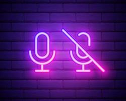 Microphone neon icon. Mic on brick wall background. Studio record concept. Vector illustration can be used for neon signs, billboards, radio stations, broadcasting