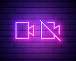 Glowing neon line Photo camera icon isolated on brick wall background. Foto camera icon. Vector Illustration