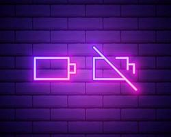 Set of battery neon icon. Charger glowing sign. Vector symbol of low and full battery isolated on brick wall.