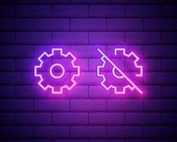 Gear, maintenance. Pink neon vector icon. Glowing gear symbol isolated on brick wall background