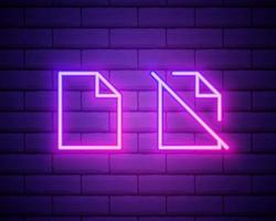 Feedback neon icon. Elements of education set. Simple icon for websites, web design, mobile app, info graphics isolated on brick wall. vector