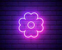 Flower pink glowing neon ui ux icon. Glowing sign logo vector . Glowing flower isolated on brick wall background