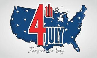 mapa de estados unidos con estrellas día de la independencia de estados unidos vector
