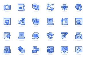 Social network web flat line icon vector