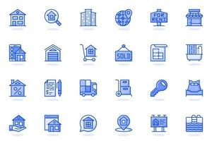 Real estate web flat line icon vector