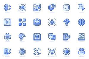 Artificial intelligence web flat line icon vector