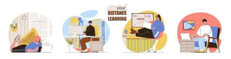 Distance learning concept scenes set vector