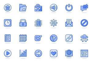 botones de interfaz de usuario icono de línea plana web vector