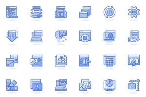 Web development flat line icon vector
