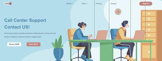 Call Center Support Contact Us web banner concept vector