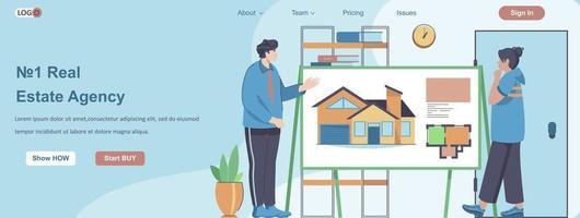 Real Estate Agency web banner concept vector
