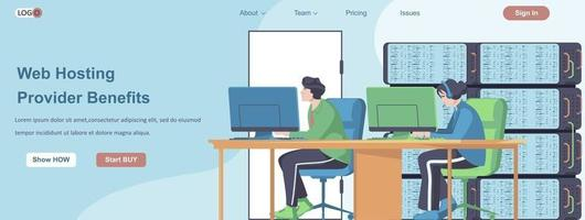 Web Hosting Providers Benefits banner concept vector
