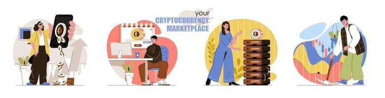 Cryptocurrency marketplace concept scenes set vector