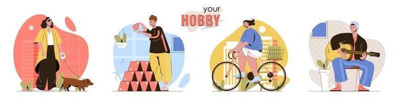 Hobby concept scenes set vector