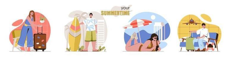 Summertime concept scenes set vector