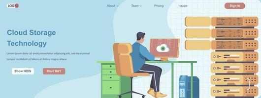 Cloud Storage Technology web banner concept vector