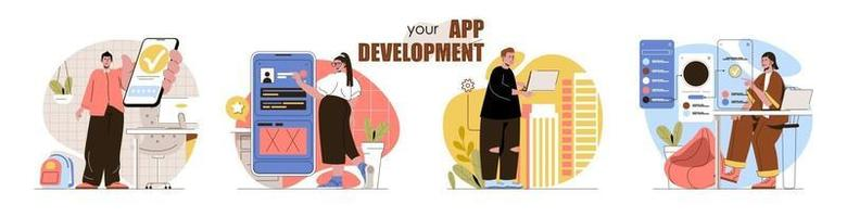 App development concept scenes set vector