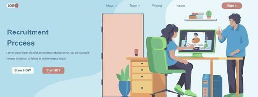 Recruitment Process web banner concept vector
