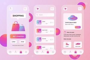 Mobile shopping glassmorphic elements kit for mobile app vector