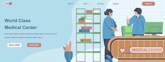 concepto de banner web de centro médico de clase mundial vector