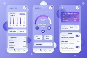 Finance glassmorphic elements kit for mobile app vector