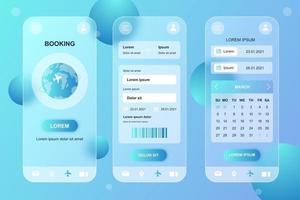 Travel booking glassmorphic elements kit for mobile app vector