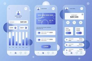 Online banking glassmorphic elements kit for mobile app vector