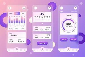 Fitness workout glassmorphic elements kit for mobile app vector