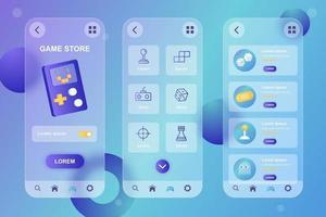 Game store glassmorphic elements kit for mobile app vector